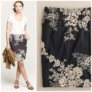 J. CREW Mirabel Floral Embroidered Pencil Skirt 8